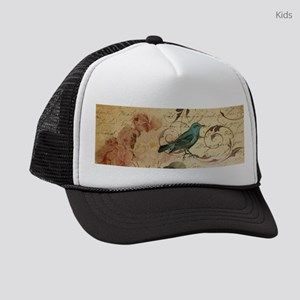 teal bird vintage roses swirls bo Kids Trucker hat