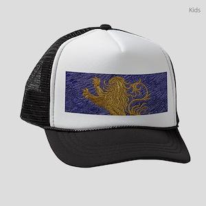 Rampant Lion - gold on blue Kids Trucker hat