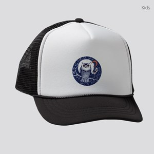 Blue Owl with Moon and Moth Kids Trucker hat