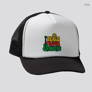 Reggae Peace Love Music Kids Trucker hat