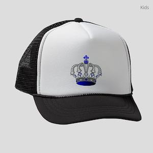 Silver & Blue Royal Crown Kids Trucker hat