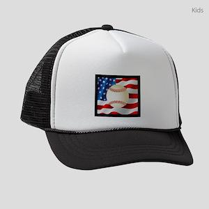 Baseball Ball On American Flag Kids Trucker hat
