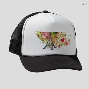 eiffel tower got heart Kids Trucker hat