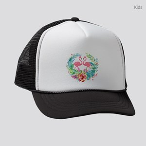 Flamingos With Colorful Tropical Kids Trucker hat