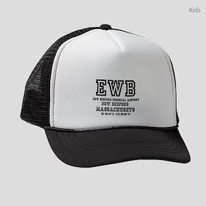 AIRPORT CODES - EWB - NEW BEDFORD Kids Trucker hat