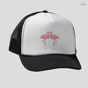 romantic pink flamingo couple Kids Trucker hat