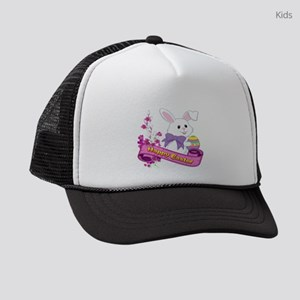 White Easter Bunny Banner Kids Trucker hat