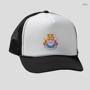 55th Birthday Balloon Banner Conf Kids Trucker hat