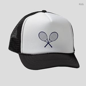 Crossed Rackets Silhouette Kids Trucker hat