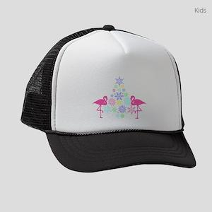 pink flamingo Christmas snowflake Kids Trucker hat