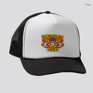 Don't Ride With Fear (on Red) Kids Trucker hat