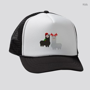 christmas reindeer alpacas Kids Trucker hat