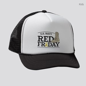 Navy RED Friday Boot Kids Trucker hat