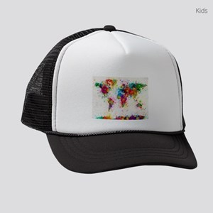 World Map Paint Splashes Kids Trucker hat