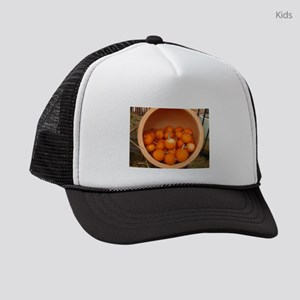 clay pot with small pumpkins insi Kids Trucker hat