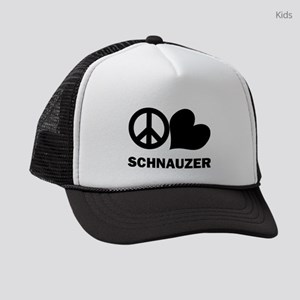 FIN-peace-love-schnauzer Kids Trucker hat