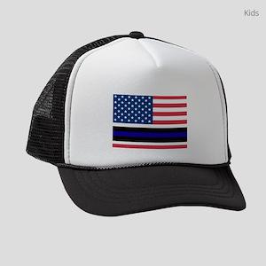 Police Blue Line Kids Trucker hat