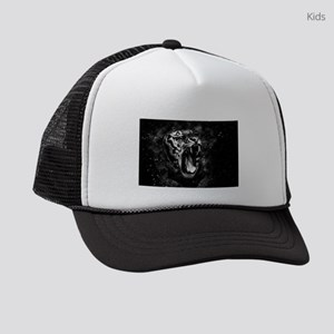 Wild Tiger Portrait Black White A Kids Trucker hat