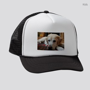 laying 2 yellow lab Kids Trucker hat