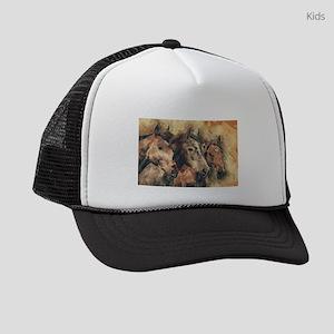 Horses Artistic Watercolor Painti Kids Trucker hat