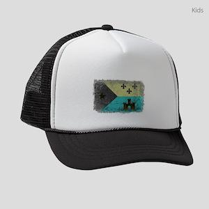 Vintage Grunge Acadian Flag Kids Trucker hat