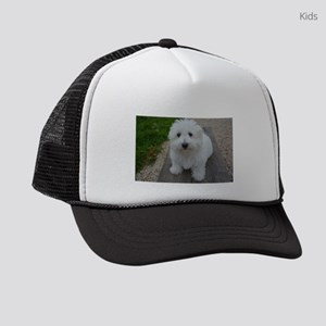 coton de tulear on bench Kids Trucker hat