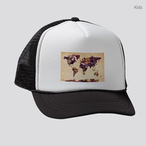 Watercolor World Map Kids Trucker hat