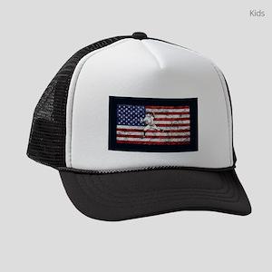 Baseball Player On American Flag Kids Trucker hat