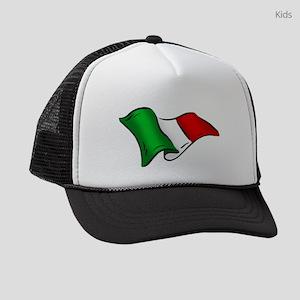 Waving Italian Flag Kids Trucker hat