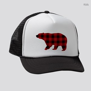lumberjack buffalo plaid Bear Kids Trucker hat