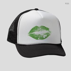 Green Lips & White Irish Shamrock Kids Trucker hat