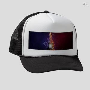 Cool Music Guitar Fire Water Arti Kids Trucker hat