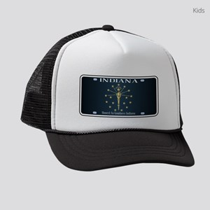 Indiana Flag License Plate Kids Trucker hat