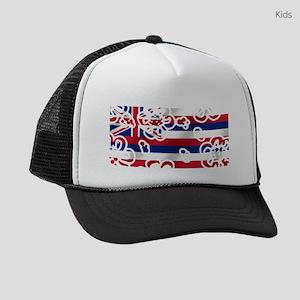 Floral Hawaiian Flag Kids Trucker hat