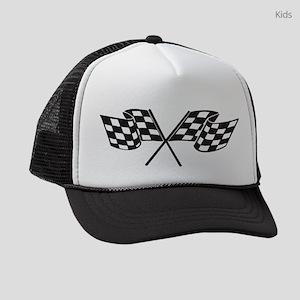 Checkered Flag, Race, Racing, Mot Kids Trucker hat