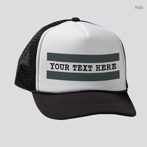 Personalized Gray Striped Kids Trucker hat