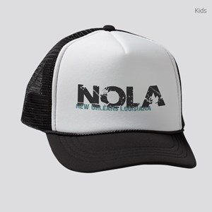 NOLA New Orleans Turquoise Gray Kids Trucker hat