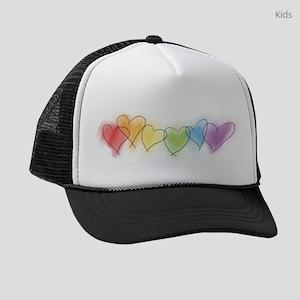 hearts-watercolor-row_tr Kids Trucker hat