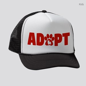 Cute Pets Paw Cat Dog Adopt Red Kids Trucker hat