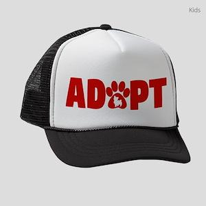 Cute Pets Paw Cat Dog Adopt Red Kids Trucker hat