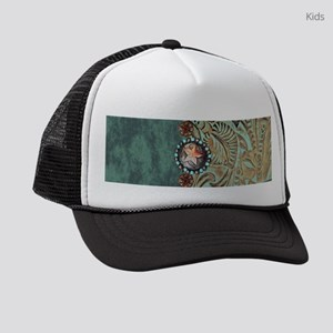 Country Western turquoise leather Kids Trucker hat