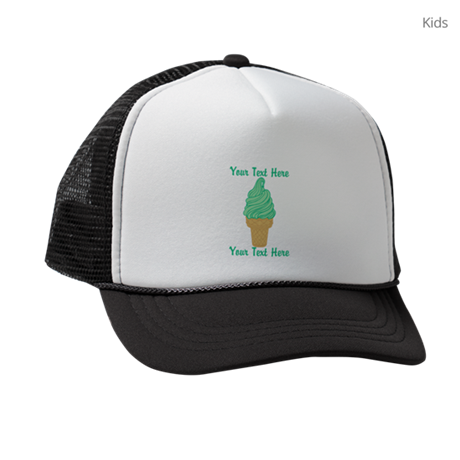 b11ddd1b0b09e PERSONALIZED Mint Ice Cream Cone Kids Trucker hat by trendyteeshirts