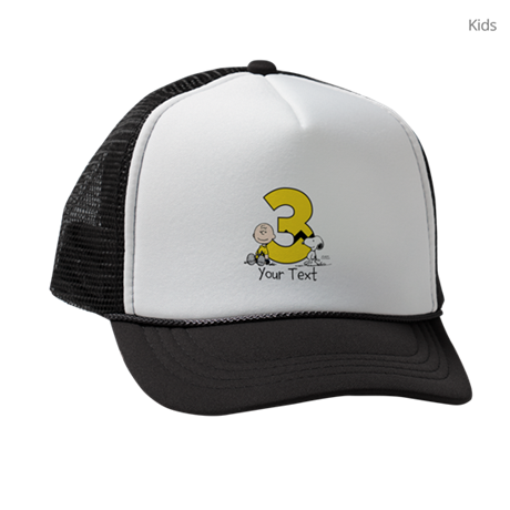 Peanuts Personalized 3rd Birthday Kids Trucker hat