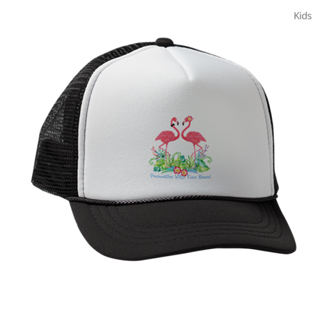 PERSONALIZED Flamingo Couple Kids Trucker hat