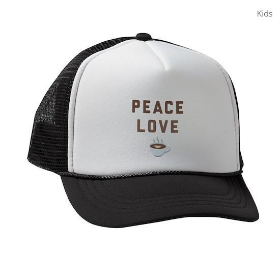 Peace Love Coffee Emoji Kids Trucker hat