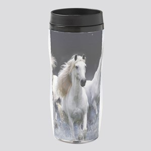 White Horses Running 16 oz Travel Mug