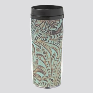 Rustic teal Western leather 16 oz Travel Mug