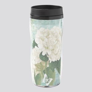 White hydrangea on blue 16 oz Travel Mug