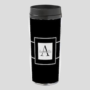 Black White Monogram Personalized 16 oz Travel Mug