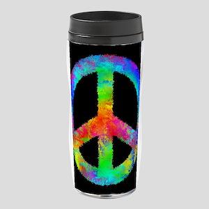 Abstract Rainbow Peace Sign 16 oz Travel Mug